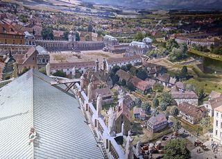 Ausschnitt Asisi Panorama - Dresden im Barock - Ausstellung, prunkvoll, prächtig, Asisi, Kunst, Geschichte, Epoche, Barock, Schauspieler, Zwinger, Dresden, Fotokunst