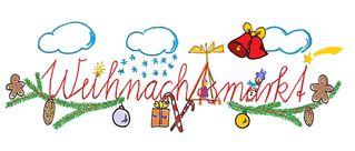 Schriftgrafik Weihnachtsmarkt farbig - fröhlich, Weihnacht, Illustration, Rahmen, gestalten, Feiertag, Fest, Weihnachten, gestalten, Schriftzug, Weihnachtsgruß, Gruß, Schmuckblatt, Weihnachtsmotiv, weihnachtlich, Linienbild, Strichzeichnung, Advent, Weihnachtsmarkt