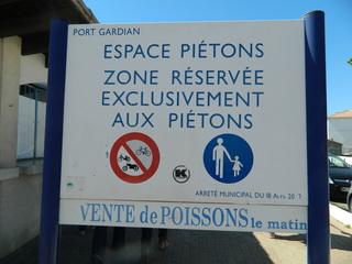 Espace piétons - Frankreich, civilisation, panneau, Schild, espace piétons, Fußgängerzone, vente poissons