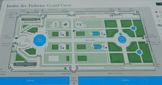Jardin des Tuileries - Paris, Tuileries, parc, Park, Jardin, plan, Grundriss, Seine