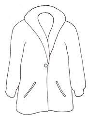 Mantel sw - Mantel, coat, clothes, Kleidung, Einzahl, Singular, anziehen, Bekleidung, Zeichnung, Kleidungsstück, Kragen, Revers, wetterfest, warm, Knopf, zuknöpfen, Anlaut M