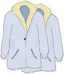 Mäntel farbig - Mantel, Mäntel, coat, clothes, Kleidung, Mehrzahl, Plural, anziehen, Bekleidung, Zeichnung, Kleidungsstück, Kragen, Revers, wetterfest, warm, Knopf, zuknöpfen, Anlaut M