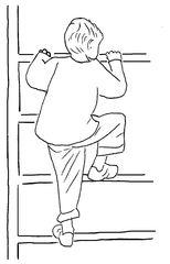 Klettern an der Sprossenwand sw - Turnen, Sport, Gerätturnen, Grundübung, klettern, Sprossenwand, Kind, Sportler, Zeichnung, Turner, Psychomotorik, bewegen, Bewegung, festhalten, aufsteigen, Verb