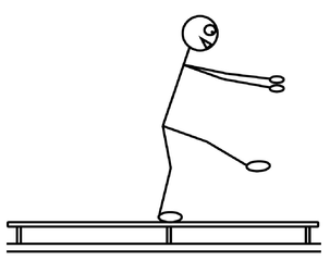 Turnen - Schwebebalken - turnen, Sport, Schwebebalken, balancieren, Gleichgewicht, Bank, Fach, Unterrichtsfach, Sportgerät, Zeichnung, Stundenplan