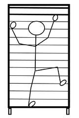 Turnen - Sprossenwand - turnen, Sport, klettern, Sprossenwand, Kletterwand, Fach, Unterrichtsfach, Sportgerät, Zeichnung, Stundenplan