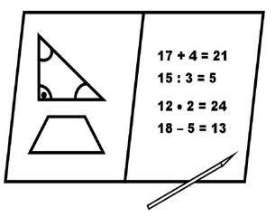 Mathematik Mathe - Mathe, Mathematik, Rechnen, Rechnung, Aufgaben, Unterricht, Multiplikation, Division, Addition, Subtraktion, minus, plus, mal, durch, Zeichnung, Stundenplan, Fach, Dreieck, zeichnen, Heft