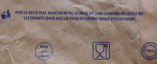 Aufschrift auf Papiertüte - geste, vert, sac, nature, étouffement, risque, enfants