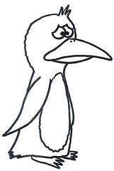 Pinguin 4 - Pinguin, Comic, Bild, Ausmalbild, Legefilm, traurig, Wasservogel, Vogel, Meer, Clipart, Zeichnung