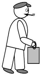 Opa - Opa, Großvater, Mann, alter Mann, alt, gebeugt, Beutel, Einkaufsbeutel, einkaufen, Zeichnung, Mensch