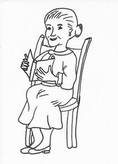 Oma, ältere Frau - Die Zeit vergeht, gestern, heute, morgen, alte Frau, Oma, Grundformen des Miteinanderlebens, Familie, Kind und Zeit, Sachunterricht, Grundschule, lesen, sitzen, Buch, Mensch