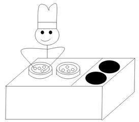 Verb zubereiten - zubereiten, vorbereiten, Strichmännchen, Verb, préparer, Piktogramm, Clipart, kochen, Koch