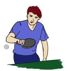 Tischtennisspieler farbig - Tischtennis, Ping-Pong, Spieler, Sportler, Sportart, Ping-Pong, Ball, Sport, spielen, Turnen, Junge, Zeichnung, bewegen, Bewegung, Kelle, Verb, trainieren, Training, olympische Disziplin, Ballsportart