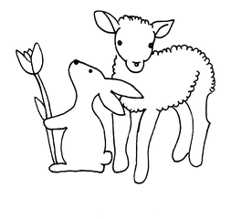 österliches Motiv - Hase und Lamm - fröhlich, Ostern, Illustration, gestalten, Feiertag, Fest, Osterfest, froh, Karte, Ostergruß, Gruß, Schmuckblatt, Ostermotiv, österlich, Vorlage, Frühling, Hase, Lamm, Frühjahr, Osterhase