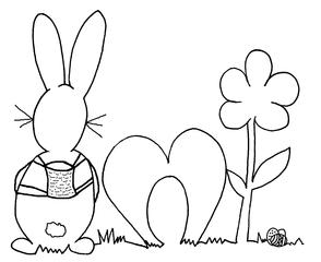 Ostermotiv von hinten - fröhlich, Ostern, Illustration, gestalten, Feiertag, Fest, Osterfest, froh, Karte, Ostergruß, Gruß, Schmuckblatt, Ostermotiv, österlich, Vorlage, Frühling, Hase, Frühjahr, Osterhase