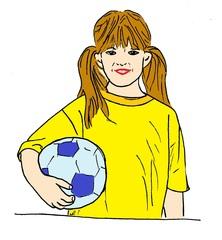 Mädchen mit Ball - Ball, Mädchen, Sport, Sportlerin, Kind, Zeichnung, bewegen, Bewegung, Spiel, spielen, Fußball, Fußballerin