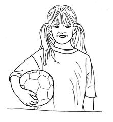 Mädchen mit Ball - Ball, Mädchen, Sport, Sportlerin, Kind, Zeichnung, bewegen, Bewegung, Spiel, spielen, Freizeit, Fußball, Fußballerin
