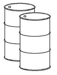 zwei Tonnen sw - walzenförmig, zylindrisch, groß, Zylinder, Fass, Fässer, Behälter, Behältnis, füllen, einfüllen, Körper, Mathematik, Rauminhalt, Volumen, Tonne, Tonnen, Abfalltonne, Sondermüll, Abfallbehälter, Wörter mit Doppelkonsonanten, Anlaut T