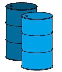 zwei Tonnen farbig - walzenförmig, zylindrisch, groß, Zylinder, Fass, Fässer, Behälter, Behältnis, füllen, einfüllen, Körper, Mathematik, Rauminhalt, Volumen, Tonne, Tonnen, Abfalltonne, Sondermüll, Abfallbehälter, blau, Wörter mit Doppelkonsonanten, Anlaut T