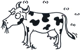 Kuh (Seitenansicht) - Kuh, Rind, Milch, Milchvieh, Bauer, Bauernhof, melken, Melker, Weide, Comicfigur, Ausmalbild, Legefilm, Lactose