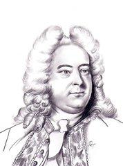 Georg Friedrich Händel - Bleistiftzeichnung nach einem Altersporträt - Georg Friedrich Händel, Konponist, Komponistenporträt, Komponistenportrait