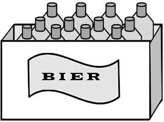 Kasten Bier (12 Flaschen) - Bier, Kasten, Flaschen, zwölf, Gebinde, Getränk, Zeichnung, Multiplikation, Dutzend
