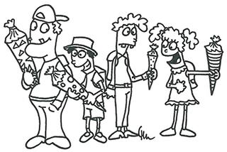 Einschulung in schwarzweiß - Schule, Einschulung, Schultüte, Fest, Ernst des Lebens, erster Schultag, ABC-Schützen, Erstklässler, schwarzweiß, Ausmalbild, Anmalbild