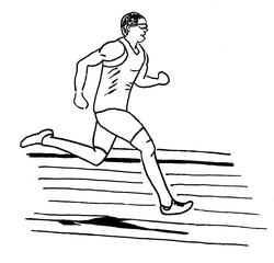 Zeichnung Läufer sw - Lauf, laufen, Läufer, Sport, Sportler, Sprint, Sprinter, sprinten, trainieren, Training, Grundübung, Zeichnung, bewegen, Bewegung, Anspannung, anspannen, Leichtathletik, Leichtathlet, olympische Disziplin, rennen, Einzahl, Singular
