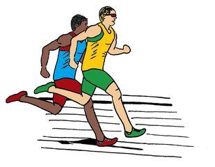 Zeichnung zwei Läufer farbig - Lauf, laufen, Läufer, Sport, Sportler, Sprint, Sprinter, sprinten, trainieren, Training, Grundübung, Zeichnung, bewegen, Bewegung, Anspannung, anspannen, Leichtathletik, Leichtathlet, olympische Disziplin, rennen, Mehrzahl, Plural