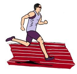 Zeichnung Läufer farbig - Lauf, laufen, Läufer, Sport, Sportler, Sprint, Sprinter, sprinten, trainieren, Training, Grundübung, Zeichnung, bewegen, Bewegung, Anspannung, anspannen, Leichtathletik, Leichtathlet, olympische Disziplin, rennen, Einzahl, Singular