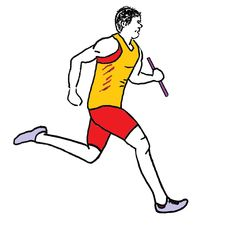 Zeichnung Staffellauf farbig - Staffel, Staffelläufer, Staffellauf, Lauf, laufen, Läufer, Sport, Sportler, Sprint, Sprinter, sprinten, trainieren, Training, Grundübung, Zeichnung, bewegen, Bewegung, Anspannung, anspannen, Leichtathletik, Leichtathlet, olympische Disziplin, rennen