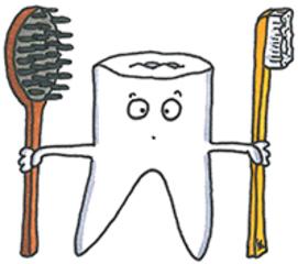 Zahn mit Zahnbürste - Zahn, Zahnpflege, Haarpflege, Zahnbürste, Mund, Mundhygiene, Zahnarzt, Zähne, Zähneputzen, putzen, sauber, Ritual, Zahnpasta, Zahnfee