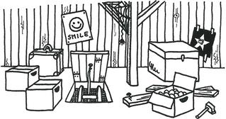 Dachboden - Dachboden, Speicher, Dachkammer, Balken, Söller, Oller, Zolder, Bühne, attic, Schreibanlass, Ausmalbild, Motiv, Haus, Kiste, Karton, Kartons, Dach, Umzugskiste, Umzugskarton, Poster, Holz, Balken, Spinne, Spinnennetz