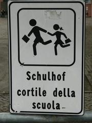 Schild Schulhof zweisprachig - Schild, deutsch, italienisch, Schulhof, cortile della scuola, Kinder