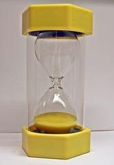 Sanduhr #1 - Sanduhr, Eieruhr, Zeit, Zeitmesser, Uhr, Sand, Minuten, messen, Dauer, Illustration, rieseln, laufen, Glas, gelb