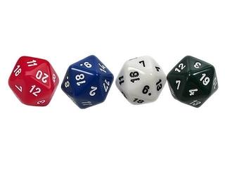 vier Zwanzigerwürfel - Spielwürfel, Würfel, zählen, würfeln, werfen, Spiele, spielen, eins, zwei, drei, vier, fünf, Wahrscheinlichkeit, Körper, geometrisch, Seiten, Kanten, Ecken, Quadrate, Zufall, Illustration, rechnen, Glück, zwanzig, farbig