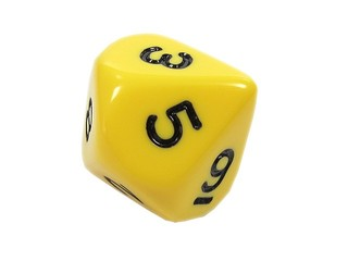Zehnerwürfel - Spielwürfel, Würfel, zählen, würfeln, werfen, Spiele, spielen, eins, zwei, drei, vier, fünf, Wahrscheinlichkeit, Körper, geometrisch, Seiten, Kanten, Ecken, Quadrate, Zufall, Illustration, rechnen, Glück, gelb