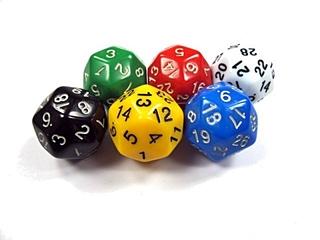 fünf Dreißigerwürfel - Spielwürfel, Würfel, zählen, würfeln, werfen, Spiele, spielen, Augenzahl, Zahl, Zahlen, Wahrscheinlichkeit, Punkt, Punkte, Körper, geometrisch, Seiten, Kanten, Ecken, Zufall, Illustration, rechnen, Glück, farbig