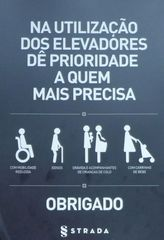Hinweisschild in einem Aufzug #2 - utilizacão, elevadór, prioridade, commobilidade reduzida, idosos, grávida acompanhantes, carrinho, bébé, crianças de colo