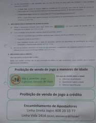 Hinweisschild in einer Kneipe - jogo, proibicão, jogo, menors, crédito, venda