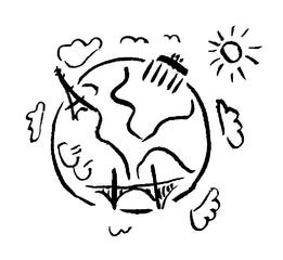 Symbol Weltkugel - Weltkugel, Symbol, Icon, Erdkunde, Geschichte, Erde, Erdball, Globus, Geografie, Illustration