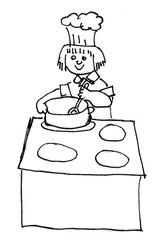 Koch - kochen, Koch, Köchin, Hobby, Herd, Herdplatten, Topf, Kochtopf, Kochlöffel, rühren, umrühren