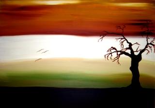 Acrylbild Landschaft - Meditation, Landschaft, Baum, Herbst, verdorrt, verdorren, grün, Farbübergänge, Abendhimmel, Himmel, Kontraste, Kontrast, Stimmungsbild, Billet, Glückwunschkarte, Malerei, Acryl, Schattenriss, Silhouette