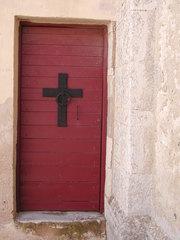 Türen aus Korsika - Tür, alt, neu, Korsika, rot, Kreuz, schwarzes Kreuz, Eingang, Eingangstür