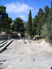Palast von Knossos (6) - Knossos, Kreta, Griechenland, minoische Kultur, Königsstraße oder Heilige Straße, schmal, Pflastersteine, Struktur, Theater
