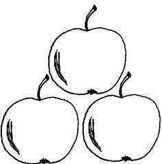 Apfel Menge 3 - Apfel, Äpfel, Mengenbild, drei, Menge, Anlaut AE, Anlaut A