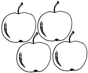 Apfel Menge 4 - Apfel, Äpfel, Mengenbild, vier, Anlaut A