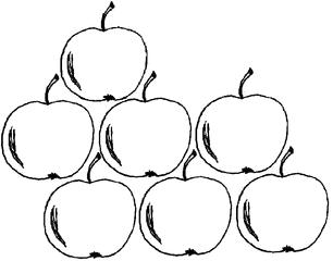 Apfel Menge 7 - Apfel, Äpfel, Mengenbild, sieben, Anlaut A