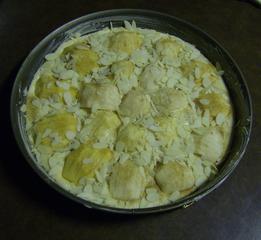 Versunkener Apfelkuchen #1 - Apfelkuchen, versunken, Rührmasse, Teig, Äpfel, eingeschnitten, Mandelblättchen, Zucker, Zimt, Backform