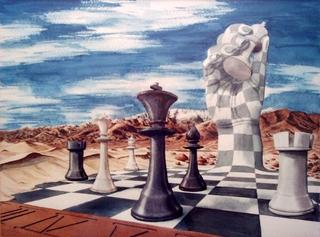 Schachmatt - Surrealismus, Malerei, Aquarell, Traum, Einsamkeit, Schach, Wüste, unwirklich, fantastisch