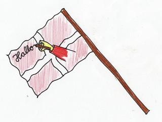 Redewendungen als Bilder #1 - Redewendung, Fahne, schreiben